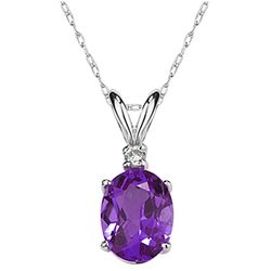 9X7mm Oval Amethyst and Diamond Stud Pendant in 14k White Gold