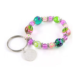 Preppy and Smiling Personalized Charm Bracelet Keychain