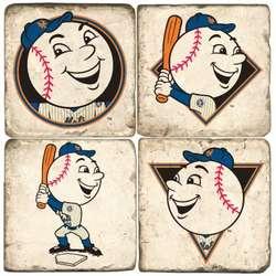 New York Mets Mascot Tumbled Italian Marble Coasters