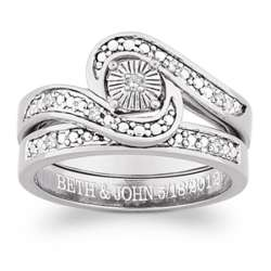 Sterling Silver Diamond 2 Piece Engraved Wedding Ring Set