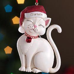 Personalized Tan Santa Cat Ornament