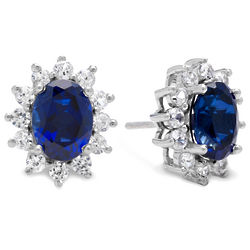 Created Sapphire Princess Design Sterling Silver Earrings