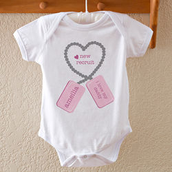 New Recruit Dog Tags Personalized Baby Bodysuit