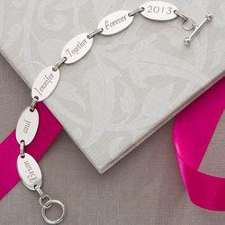 Loving Message Engraved Link Bracelet