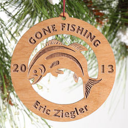 Gone Fishing Engraved Wood Ornament