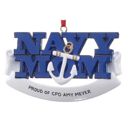 Personalized Navy Mom Christmas Ornament