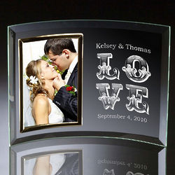 Love Curved Glass Vertical 4x6 Photo Frame