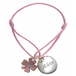 Baby's Personalized Silver Clover Charm Bracelet