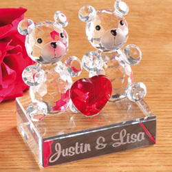 Personalized Glass Bear Couple with Red Heart