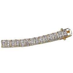 Gold Overlay Diamond Highlight Tennis Bracelet