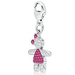 Sterling Silver October Birthstone Crystal Girl Charm