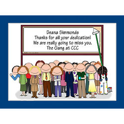 Personalized Retirement Billboard with Coworkers Cartoon Print