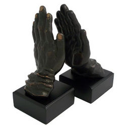 Bronzed Metal Hands On Wood Bookends