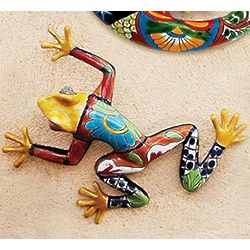 Glazed Ceramic Talavera Frog Wall Art