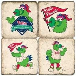 Philadelphia Phillies Mascot Tumbled Italian Marble Coasters