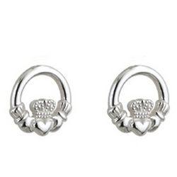Sterling Silver Kids Claddagh Stud Earrings