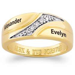 Personalized 14K Gold Plated Two-Tone Diamond Swirl Band