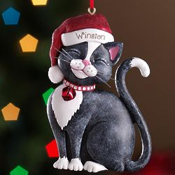 Personalized Black Santa Cat Ornament