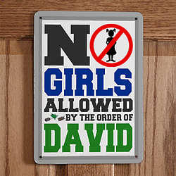 Personalized No Girls Allowed Boys Room Sign