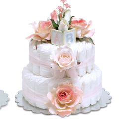 Pink Roses Diaper Cake