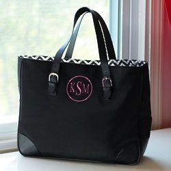 Black Chevron Personalized Tote Bag