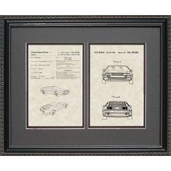 Delorean Auto Patent Art Replica 16x20 Framed Print