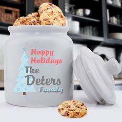 Personalized Happy Holidays Cookie Jar