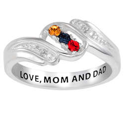 Personalized Sterling Silver Sisters Birthstone Ring