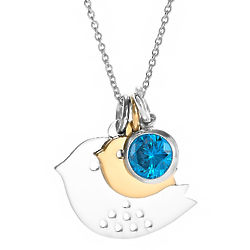 Mom and Baby Bird Birthstone Sterling Silver Necklace