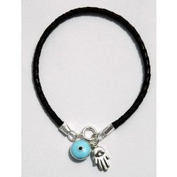 Braided Leather Hamsa Hand Charms Bracelet