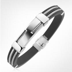 Men's Rubber and Stainless Steel Strand Bracelet