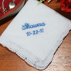Something Blue Embroidered Handkerchief