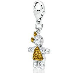 Sterling Silver November Birthstone Crystal Girl Charm