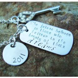 Key to The Future Sterling Silver Hand Stamped Necklace