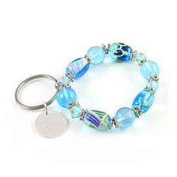 Sun, Sand, Beach Personalized Charm Bracelet Keychain