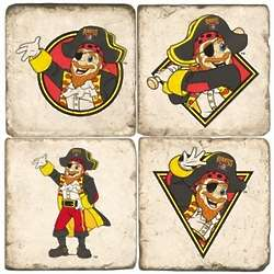 Pittsburgh Pirates Mascot Tumbled Italian Marble Coasters