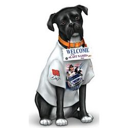 Personalized NASCAR Dog Outdoor Welcome Sculpture
