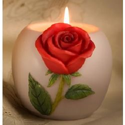 Red Rose Votive Candle Holder with Candle