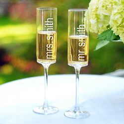 Personalized Contemporary Mr. And Mrs. Champagne Flutes