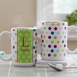 Polka Dot Large Personalized Coffee Mug