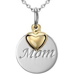 Sterling Silver Mom Pendant with 14K Yellow Gold Heart Charm