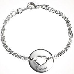 Personalized Silver Poem Heart Bracelet