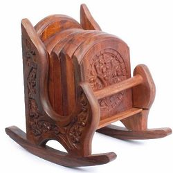 Carved Wooden Coaster Set with Rocking Chair Holder