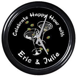 Martini Duet Personalized Clock