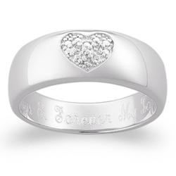 Sterling Silver Pave Diamond Heart Message Ring