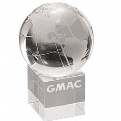 Personalized Optical Crystal Globe on Base Paperweight