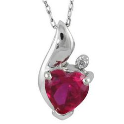Heart Shape Ruby and Diamond Pendant