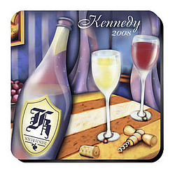 Personalized Coaster Set with Wine Party Image