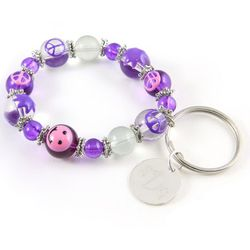 Personalized Charm Bracelet Keychain - Peace and Happiness