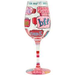 Hand-Painted Text Me Wine Glass